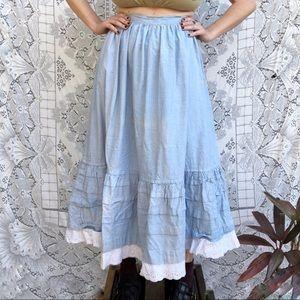 Vintage | chambray maxi prairie skirt